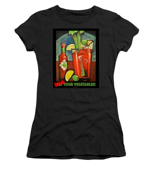 Drink Your Vegetables Poster Women's T-Shirt (Junior Cut) by Tim Nyberg