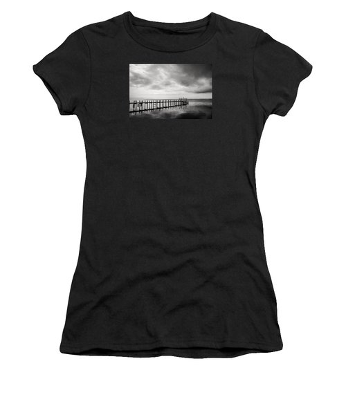 Duck Pier In Black And White Women's T-Shirt