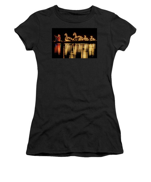 Duck Pond Christmas Women's T-Shirt (Athletic Fit)