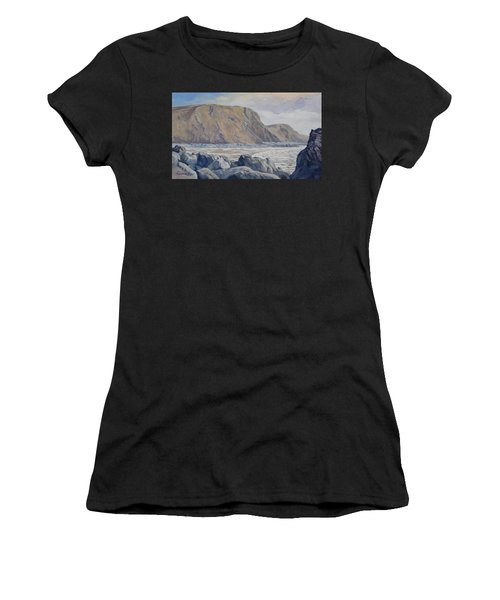 Women's T-Shirt featuring the painting Duckpool Boulders by Lawrence Dyer