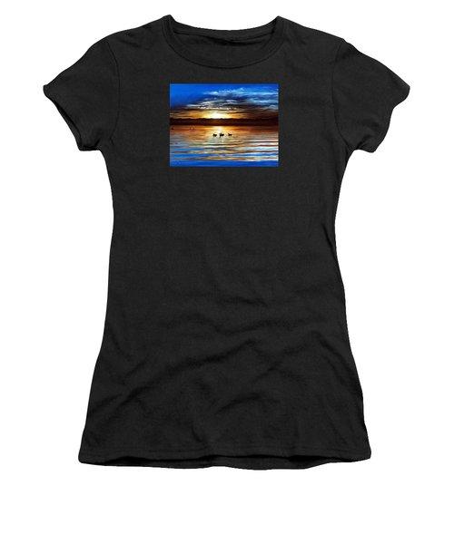 Ducks On Clear Lake Women's T-Shirt (Junior Cut) by Linda Becker