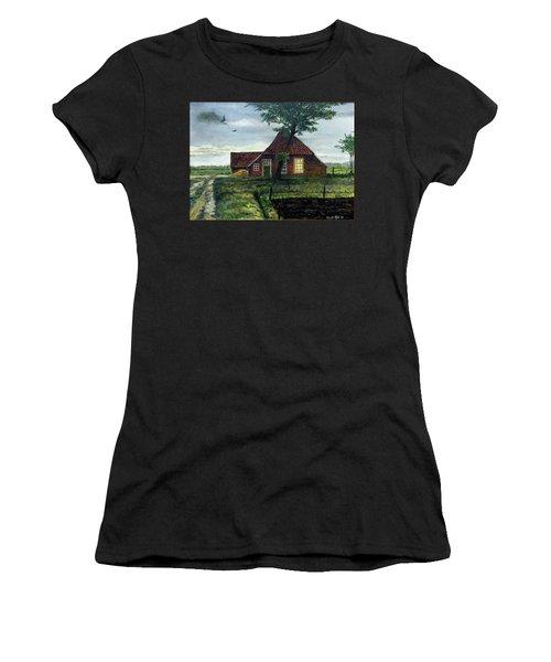 Dutch Farm At Dusk Women's T-Shirt (Athletic Fit)