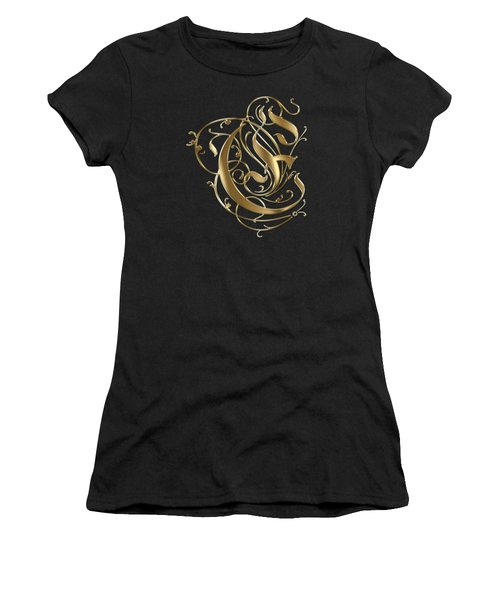 E Golden Ornamental Letter Typography Women's T-Shirt (Athletic Fit)