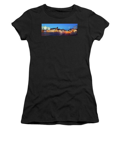 Early Morning Panorama Of Fredericksburg Main Street - Gillespie County Texas Hill Country Women's T-Shirt