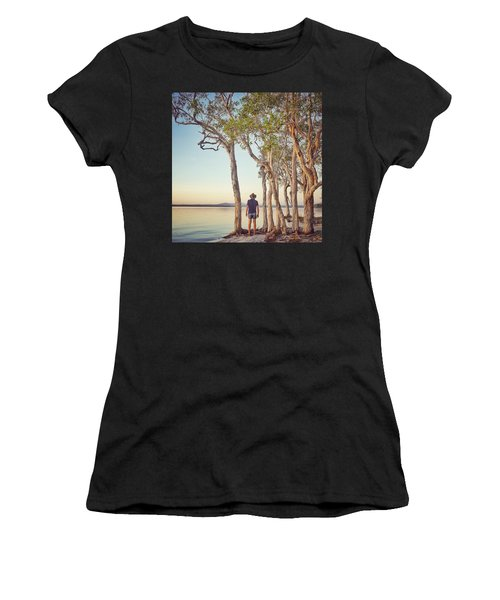 Women's T-Shirt (Athletic Fit) featuring the photograph Early Morning Tranquility Down By The Lake by Keiran Lusk