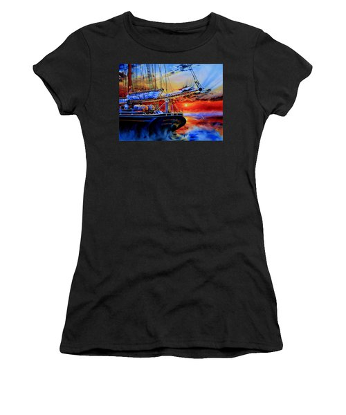 Women's T-Shirt (Athletic Fit) featuring the painting Red Sky In The Morning by Hanne Lore Koehler