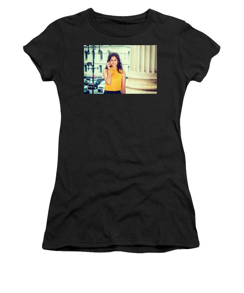 East Indian Woman Calling Outside Women's T-Shirt