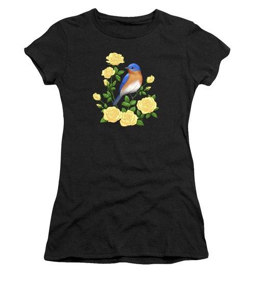 Eastern Bluebird And Yellow Roses Women's T-Shirt