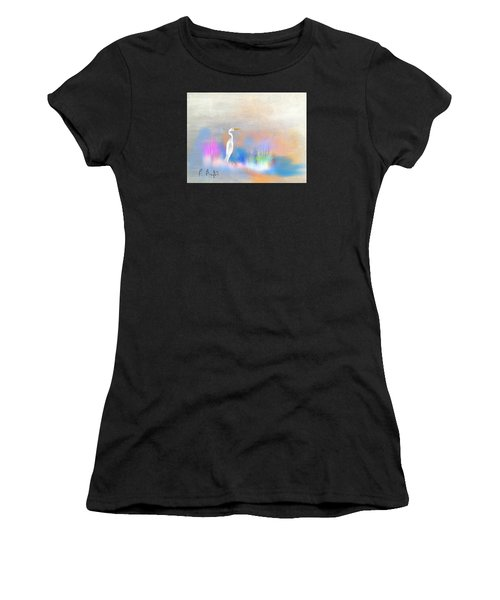 Egret Grace Abstract Women's T-Shirt (Athletic Fit)