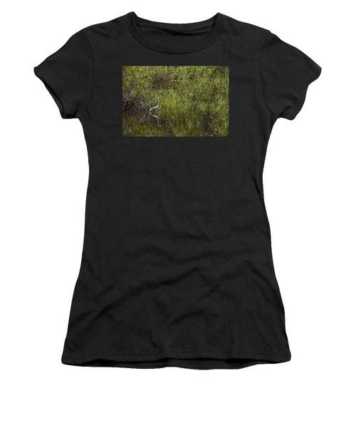 Egret Hunting In Reeds Women's T-Shirt