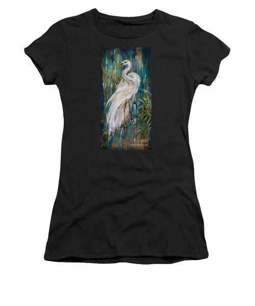 Egret Near Waterfall Women's T-Shirt