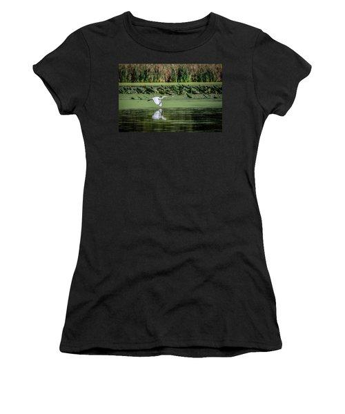 Egret Over Wetland Women's T-Shirt (Junior Cut) by Ray Congrove