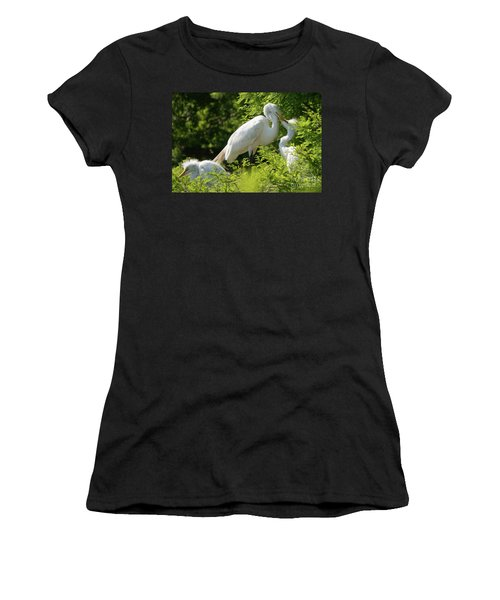 Egrets With Their Young Women's T-Shirt