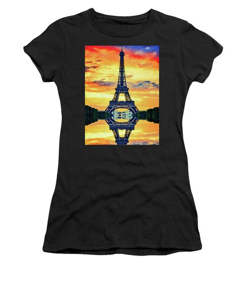 Women's T-Shirt (Athletic Fit) featuring the painting Eifel Tower In Paris by PixBreak Art
