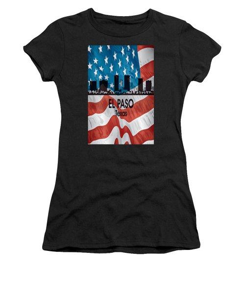 El Paso Tx American Flag Vertical Women's T-Shirt
