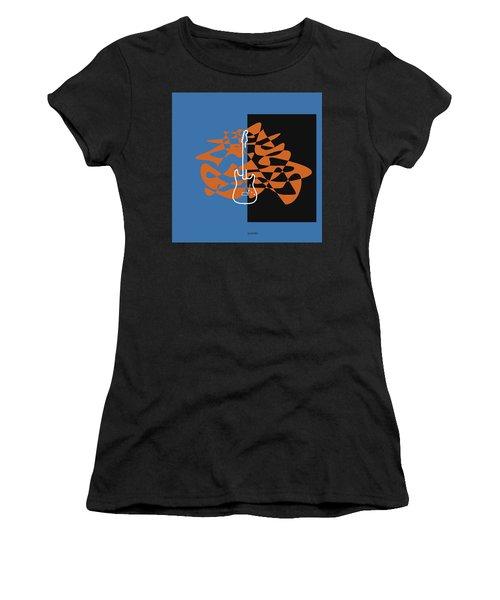 Electric Guitar In Blue Women's T-Shirt (Junior Cut) by David Bridburg