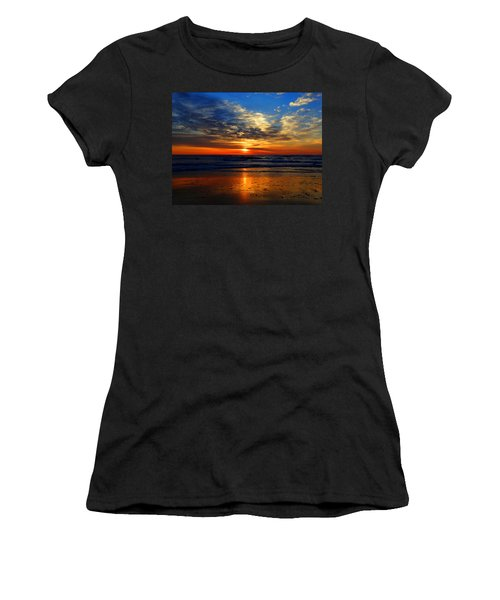 Electric Golden Ocean Sunrise Women's T-Shirt (Athletic Fit)