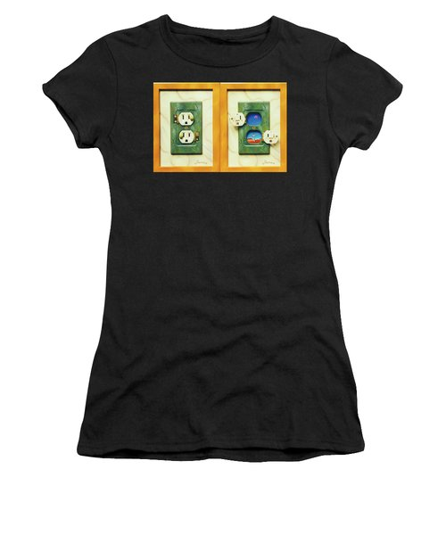 Electric View Miniature Shown Closed And Open Women's T-Shirt
