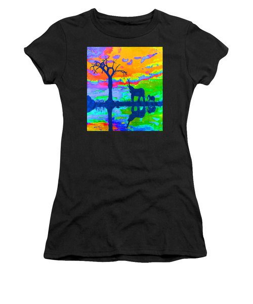 Elephant Reflections Women's T-Shirt (Athletic Fit)