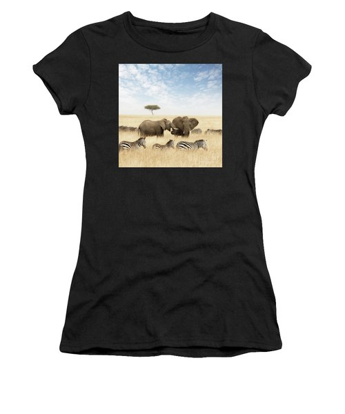 Elephants And Zebras In The Grasslands Of The Masai Mara Women's T-Shirt