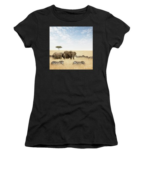 Elephants And Zebras In The Masai Mara Women's T-Shirt