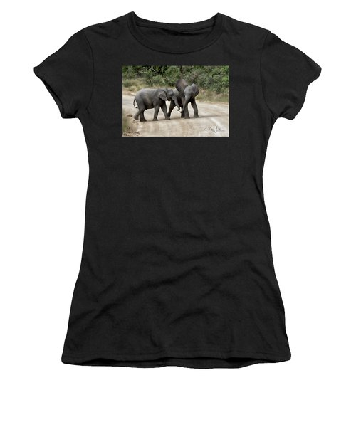 Elephants Childs Play Women's T-Shirt (Athletic Fit)