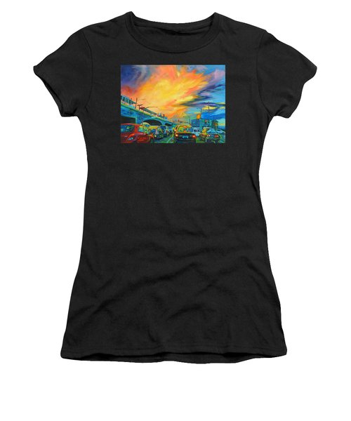 Women's T-Shirt featuring the painting Elevated by Bonnie Lambert