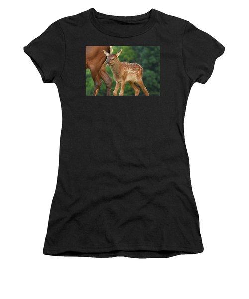 Elk Calf Arrives Women's T-Shirt (Athletic Fit)