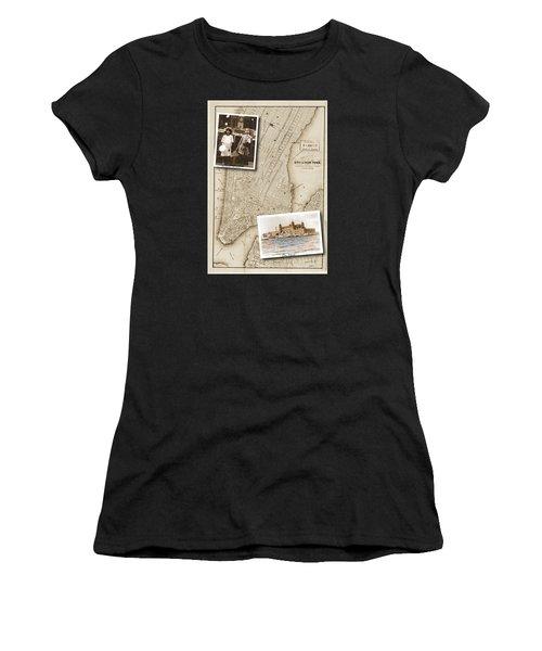 Ellis Island Vintage Map Child Immigrants Women's T-Shirt