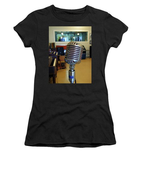 Women's T-Shirt (Athletic Fit) featuring the photograph Elvis Presley Microphone by Mark Czerniec