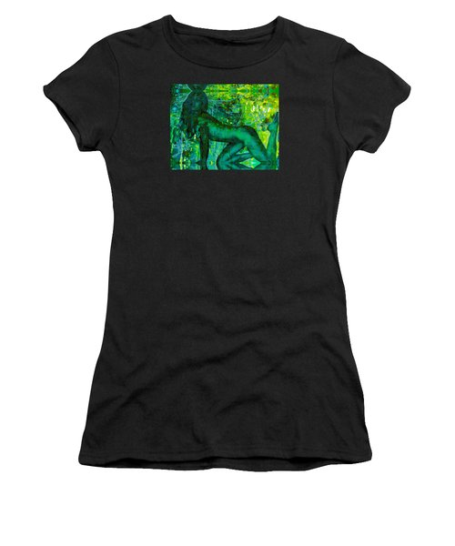 Emerald Green Sacred Sex Graffiti Women's T-Shirt (Athletic Fit)