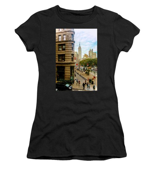 Women's T-Shirt (Junior Cut) featuring the photograph Empire State Building - Crackled View by Madeline Ellis
