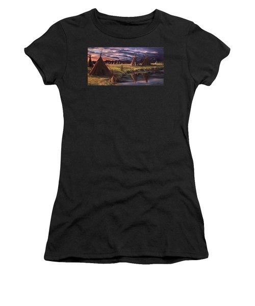 Encampment At Dusk Women's T-Shirt (Junior Cut) by Nancy Griswold