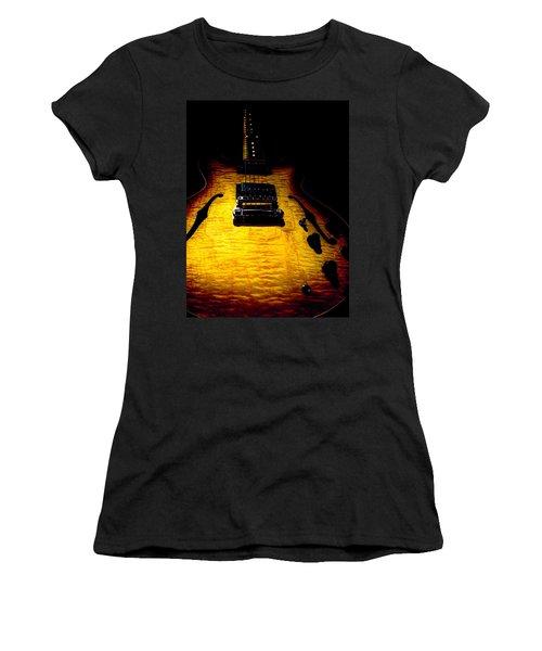 Women's T-Shirt featuring the digital art Es-335 Dots Flame Burst Spotlight Series by Guitar Wacky