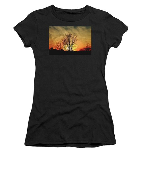 Women's T-Shirt (Junior Cut) featuring the photograph Evening Fire by Bruce Patrick Smith