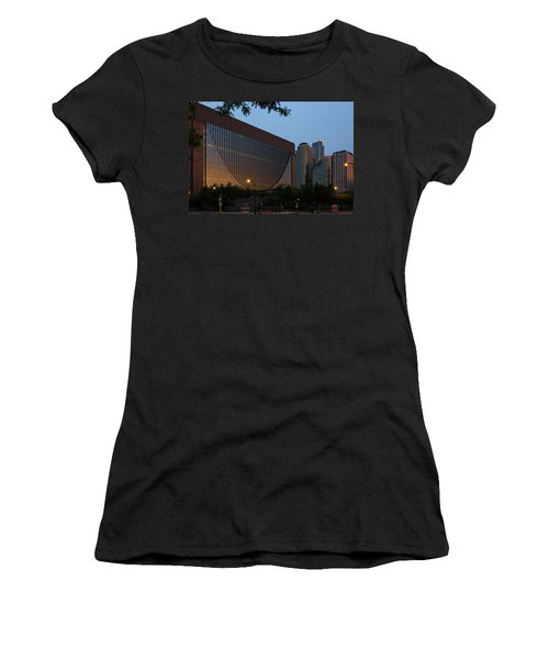 Women's T-Shirt featuring the photograph Evening In Downtown Minneapolis by Mike Evangelist