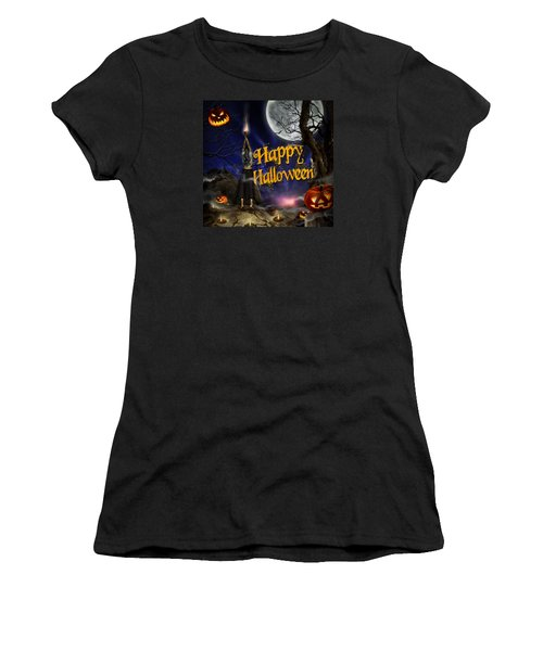Evocation In Halloween Night Greeting Card Women's T-Shirt