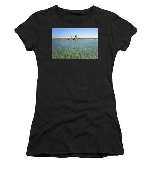 Exploring A Tidal Beach Lagoon Women's T-Shirt