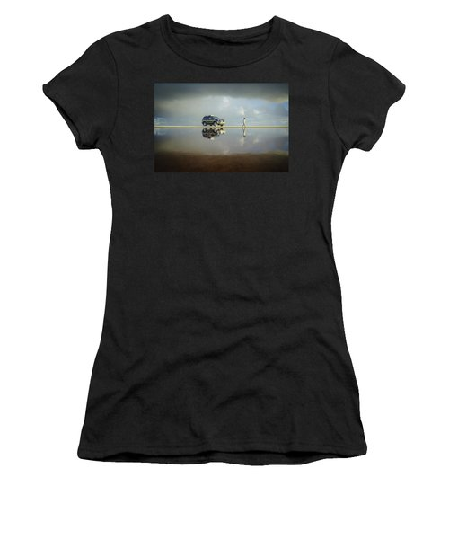 Exploring The Beach On A Rainy Day Women's T-Shirt