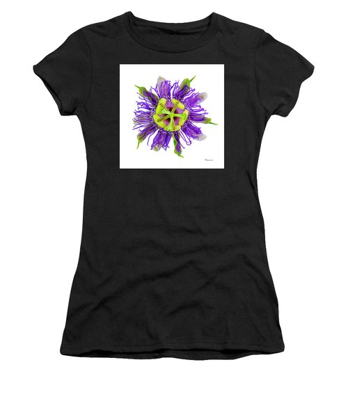Expressive Yellow Green And Violet Passion Flower 50674a Women's T-Shirt