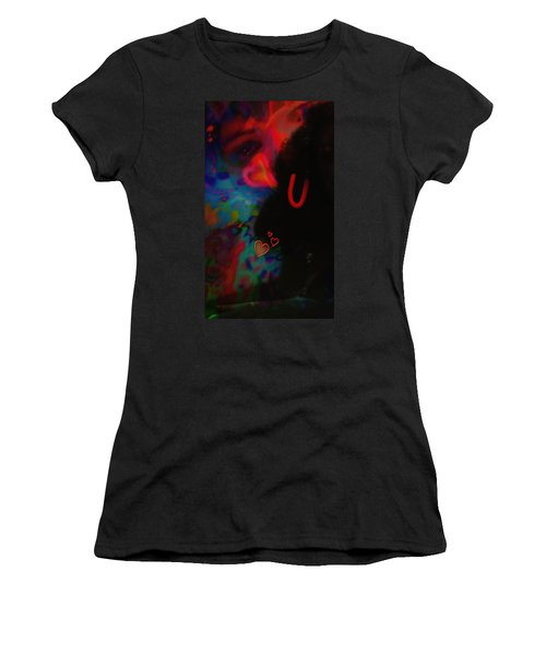 Women's T-Shirt (Junior Cut) featuring the mixed media Eye Love U by Kevin Caudill