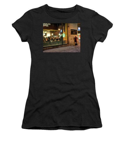 Women's T-Shirt (Junior Cut) featuring the digital art Faces At The Coffeehouse by Chris Flees