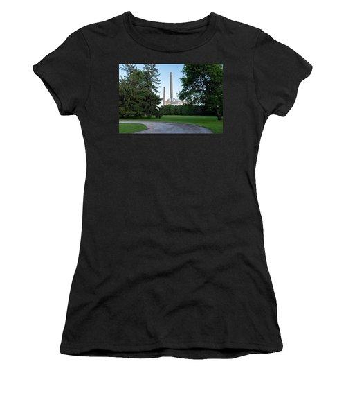 Factory Next To A Park With Smoke Stacks In Sheboygan Wisconsin Women's T-Shirt