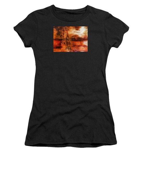 Fade To Red Women's T-Shirt (Athletic Fit)