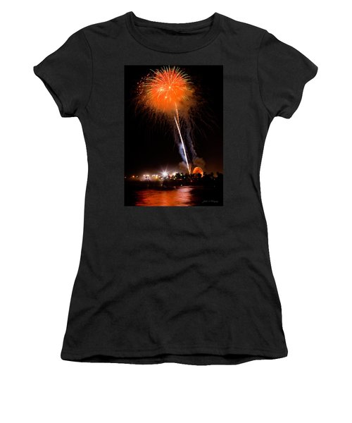 Fireworks As Seen From The Ventura California Pier Women's T-Shirt (Athletic Fit)