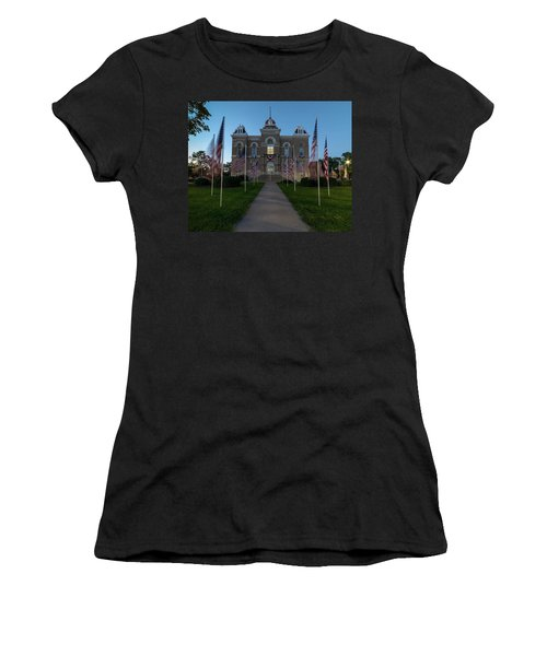 Fairbury Nebraska Avenue Of Flags - September 11 2016 Women's T-Shirt (Junior Cut) by Art Whitton