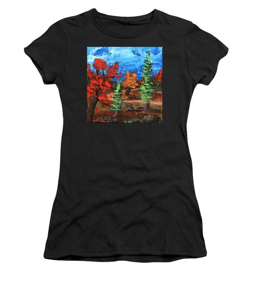Women's T-Shirt featuring the painting Fall Colours #1 by Anastasiya Malakhova