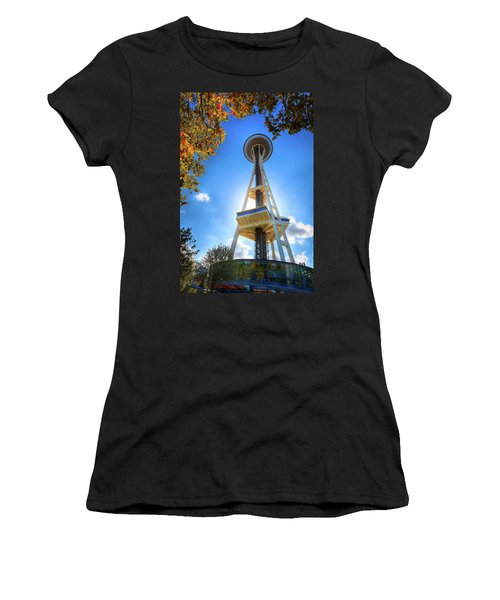 Fall Day At The Space Needle Women's T-Shirt (Junior Cut) by David Patterson