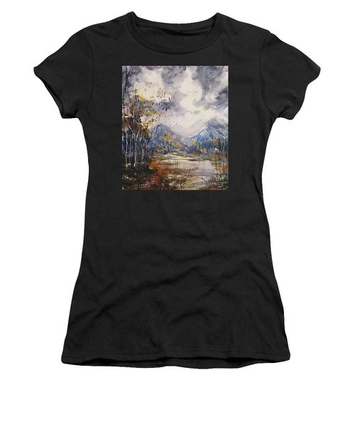 Women's T-Shirt featuring the painting Fall In The Mountains by Reed Novotny