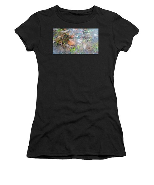 Fall Leaves In A Frozen Puddle Women's T-Shirt